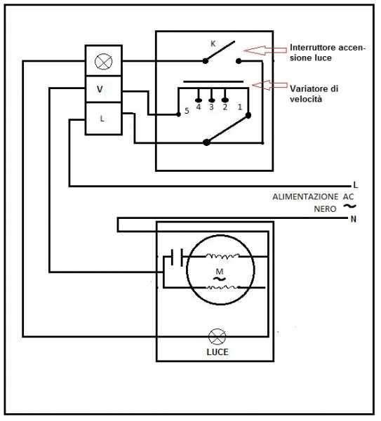 Schema Elettrico Per Ventilatore Da Soffitto : Collegamento variatore ventilatore soffitto con lu
